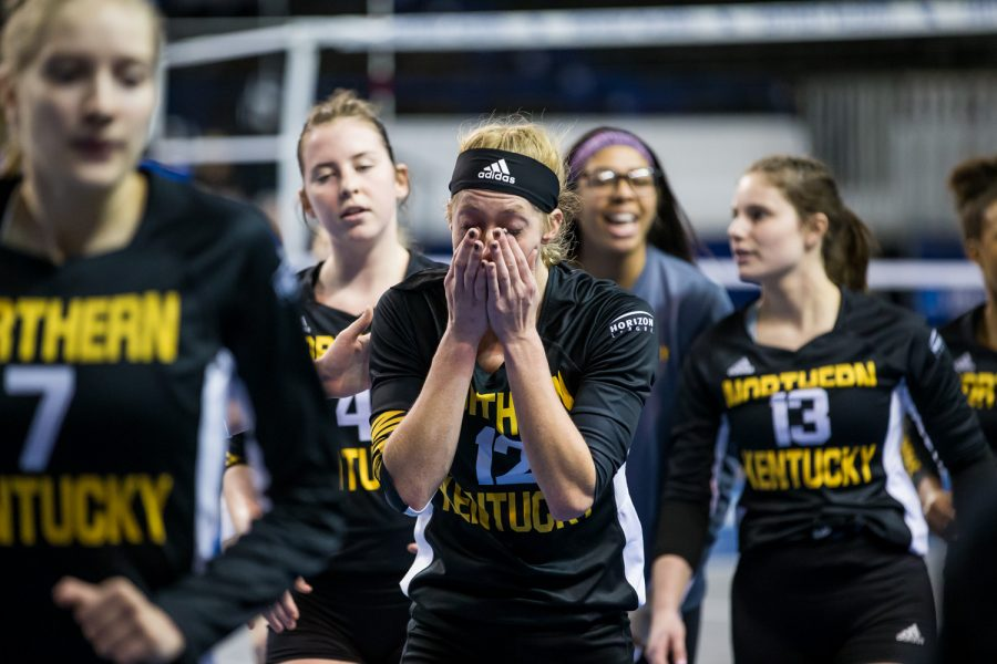 Laura Crawford (12) reacts after the conclusion of the the game against Michigan. The Norse fell in the first round of the NCAA tournament 3-0 against Michigan in Lexington.