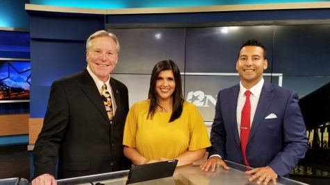 Mike Canizales (far right) is a sports reporter and sports weekend anchor for KBMT-12NewsNow in Beaumont, Texas.