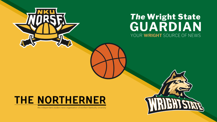 Graphic with The Northerner logo, NKU Norse logo, The Wright State Guardian logo and Wright State athletics logo in all four corners.