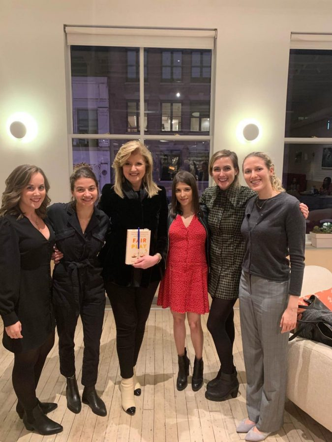 Tara Derington (far left) works at Thrive Global—Arianna Huffington's (center) start-up aimed to stop the burnout epidemic.