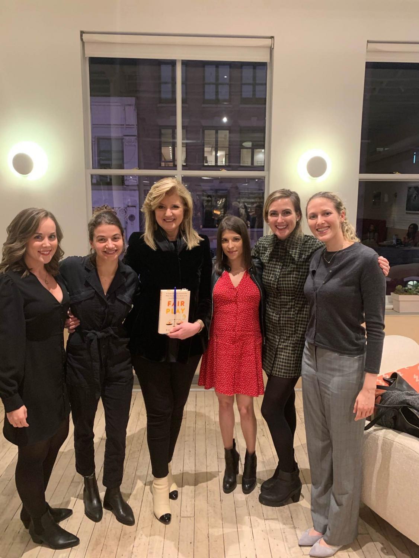 Tara Derington (far left) works at Thrive Global—Arianna Huffington's (center) start-up aimed to stop the burnout epidemic.