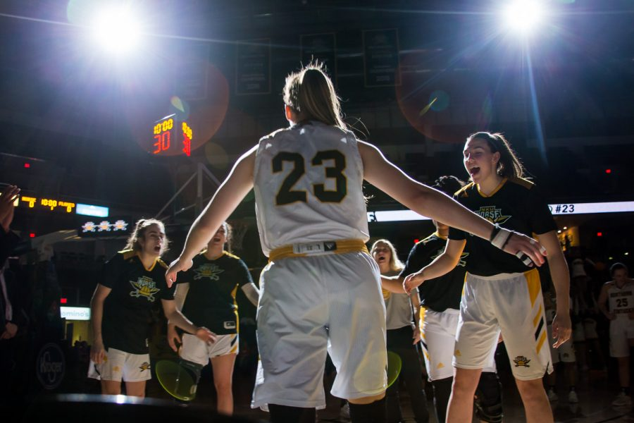 Kailey Coffey (23) is introduced before the game against UIC. The Norse defeated UIC 78 to 35.