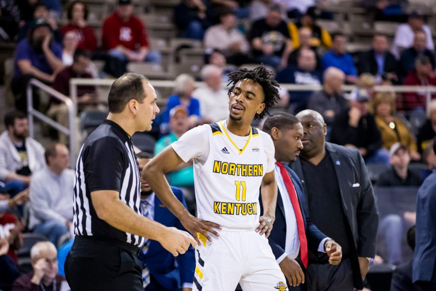Jalen Tate (11) argues with a referee about a call during the final game of the Horizon League Tournament against UIC. The Norse defeated UIC 71-62 and have now secured a spot in the NCAA Tournament.