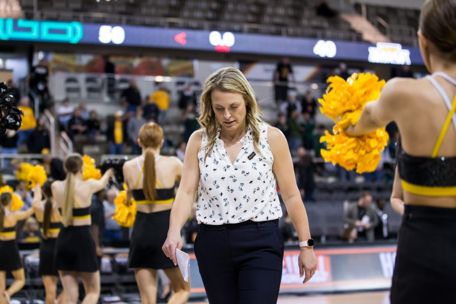 Women's Basketball Head Coach Camryn Whitaker exits the arena following the 49-50 loss to Green bay in the Semi-Final game of the Horizon League Tournament.