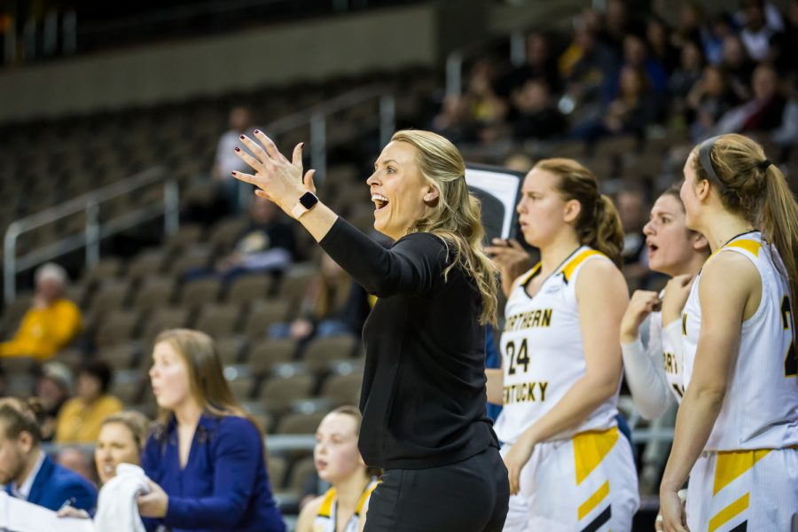 Women's Basketball Head Coach Camryn Whitaker reacts after a Norse point during the quarter final game of the Horizon League Tournament against Milwaukee.