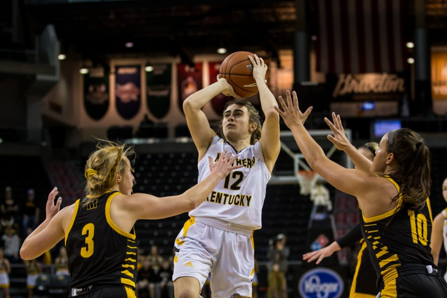 Carissa Garcia (12)  goes up for a shot during the quarter final game of the Horizon League Tournament against Milwaukee. The Norse defeated Milwaukee 78-58 on Thursday night.