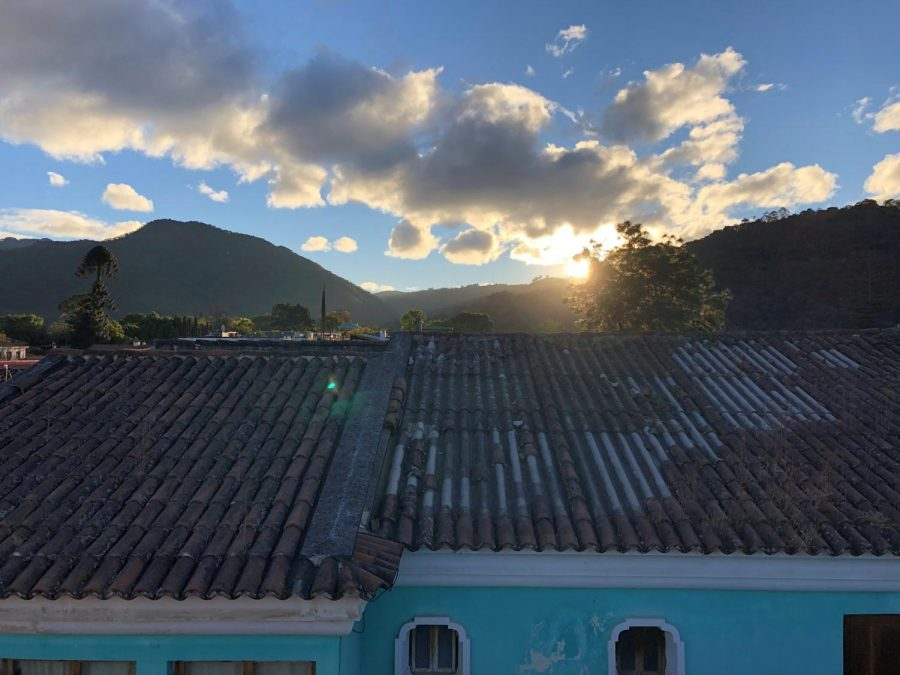 A rooftop view from their hotel in Antigua, Guatemala.