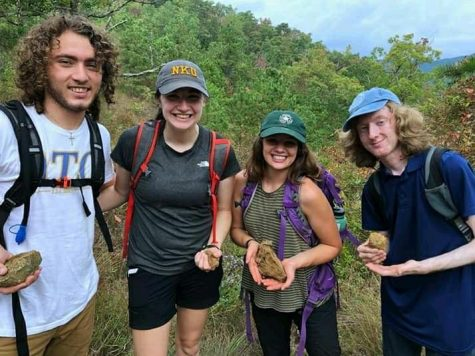 Senior geology major Cameron Peterson (far right) with friends in North Carolina.