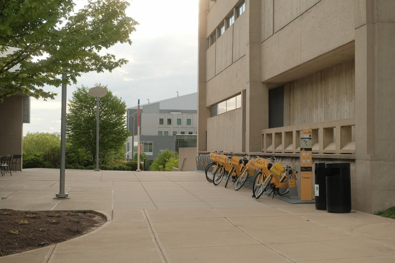 The bike share rack outside Starbucks.