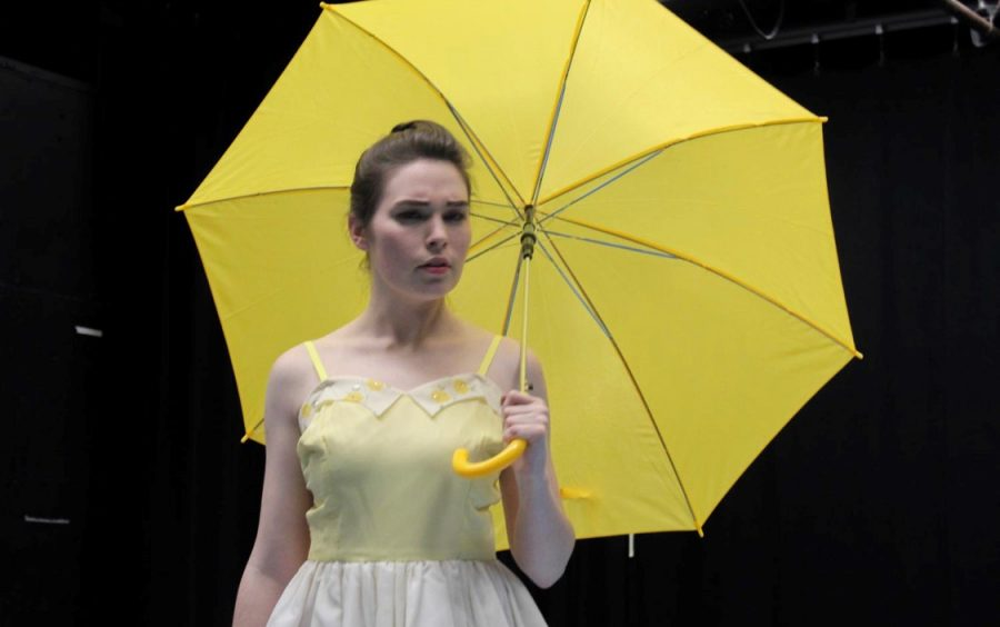 A rehearsal of Eurydice. Costume design by Emmy Kaeppner, props designed by Kristin Craven.
