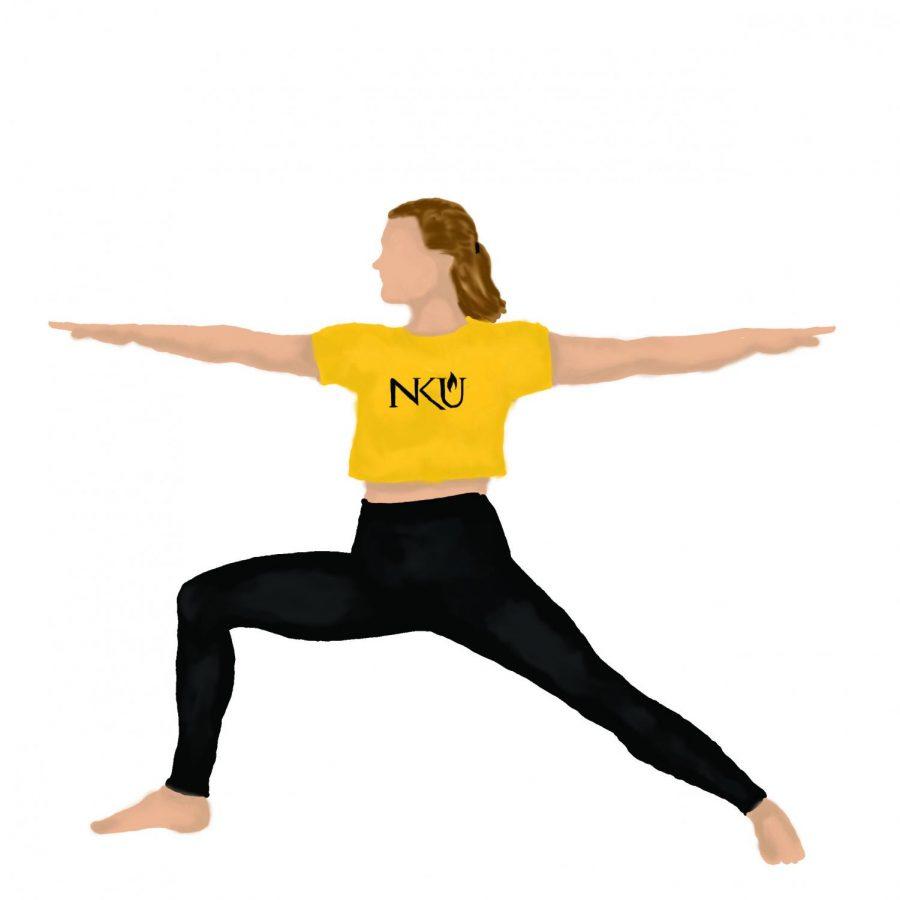 An NKU athlete stretching.