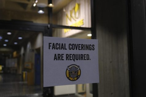 Facial coverings are required on campus as part of the 'Norse Nine.'