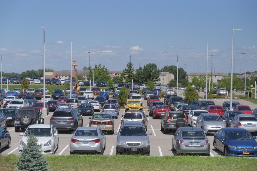 Parking lots across campus were at a moderate capacity on Tuesday.