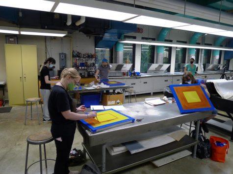 Students work in Lecturer Randel Plowman's Printmaking class.
