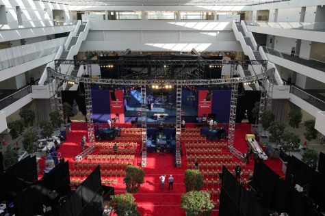 Preparations take place for the first Presidential debate in the Sheila and Eric Samson Pavilion, Monday, Sept. 28, 2020, in Cleveland.