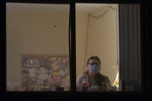 Senior Theatre and Philosophy major Isabel Sleczkowski sits in her apartment where she's been quarantining since July.