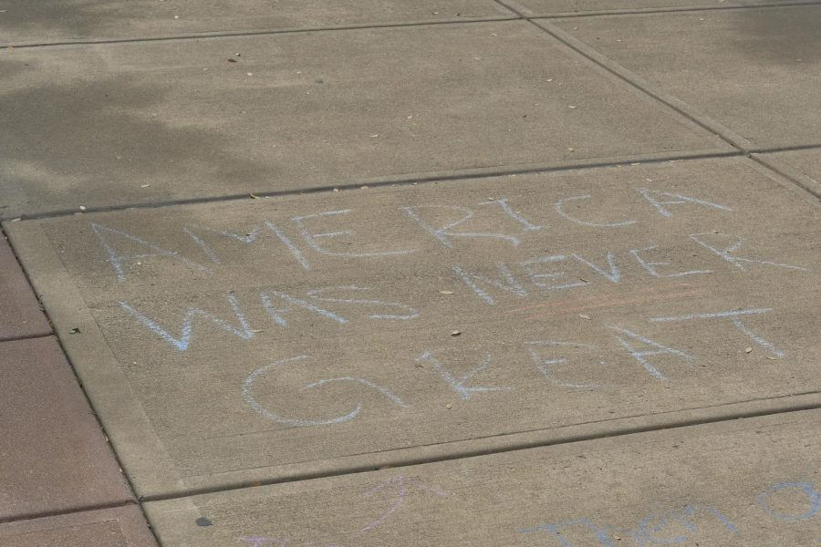 Chalk writings leftover from a protest against the Breonna Taylor court decision.