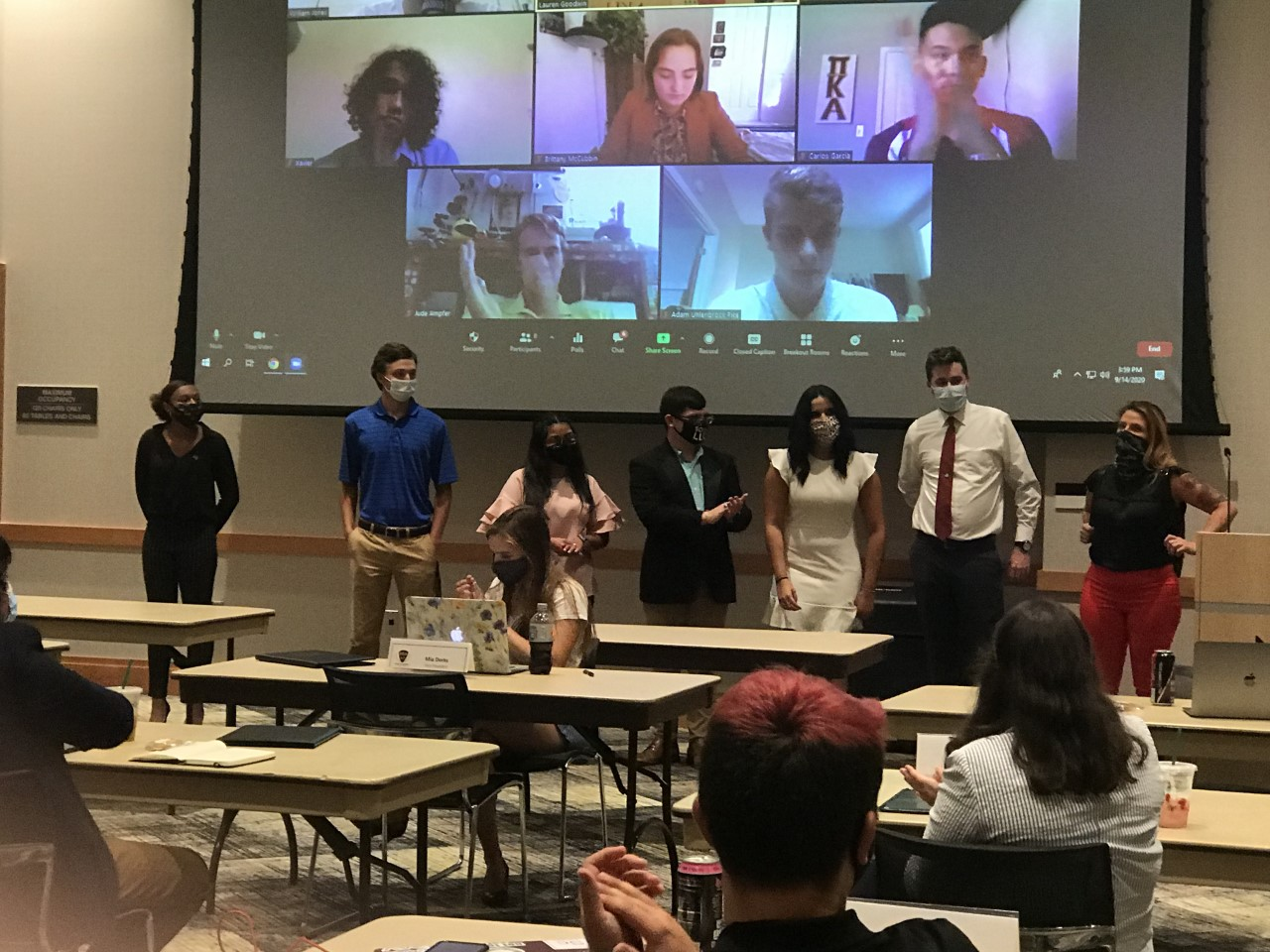 "Seven NKU students were sworn in as new SGA senators. From right to left: Mia Potter, Landon Meador, Karla Arango, James ""Jimmy"" Renton, Wendi Cantero, Tanner Stevenson and Kaitlin Minniefield."