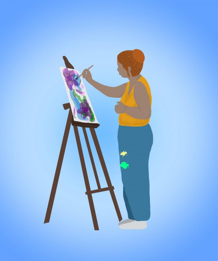 A girl in blue sweatpants and a yellow shirt pants on an easel.