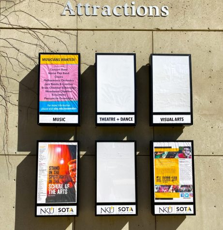 "The Theatre and Dance ""Attractions"" board outside SOTA, which usually displays the semester's upcoming events, is vacant."