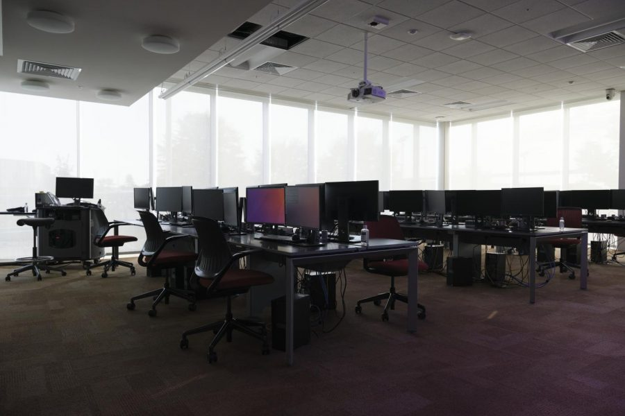 Griffin Hall's JRG Cyber Threat Intelligence Laboratory, usually packed with students, can now be found mostly empty.