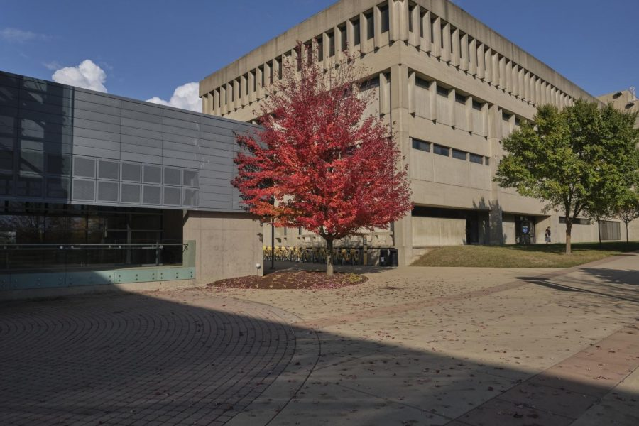 Outside the Student Union during fall.