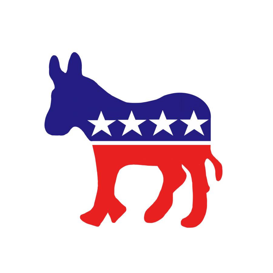 The Democratic Party's animal, a donkey. Colored in red and blue.