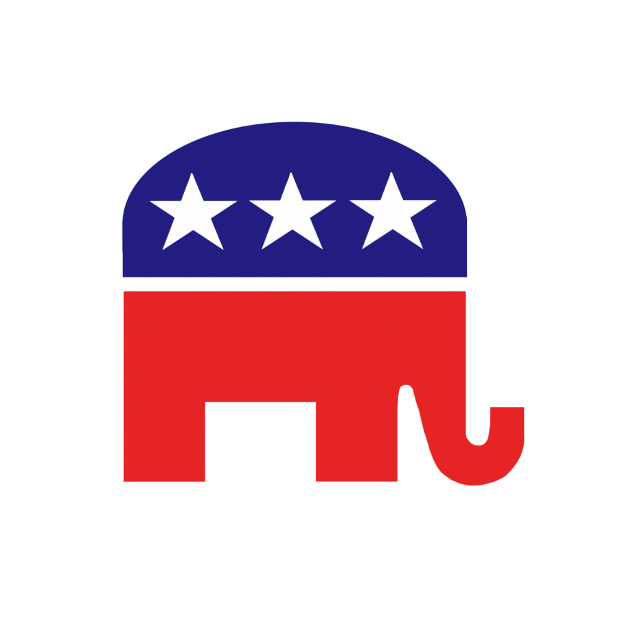An elephant, the Republican Party's animal, is colored in red and blue.