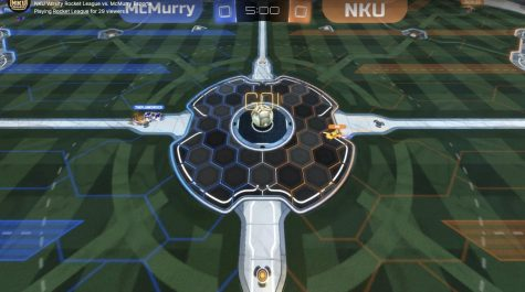 NKU and McMurry prepare for the beginning of the Rocket League match between the two schools.