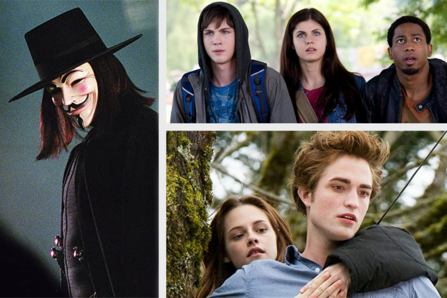 (Left) V for Vendetta, (Top) Percy Jackson, (Bottom) Twilight.