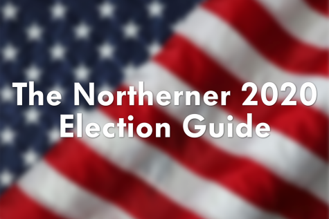 "An American flag with white text over it that says ""The Northerner 2020 Election Guide."""