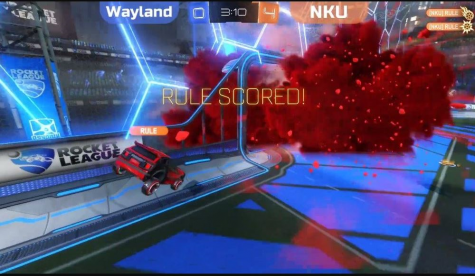 A screengrab from the game Rocket League.