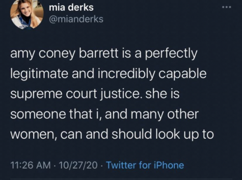 SGA Vice President Mia Derks tweeted in support of Supreme Court Justice Amy Coney Barrett's confirmation. The tweet has been deleted.