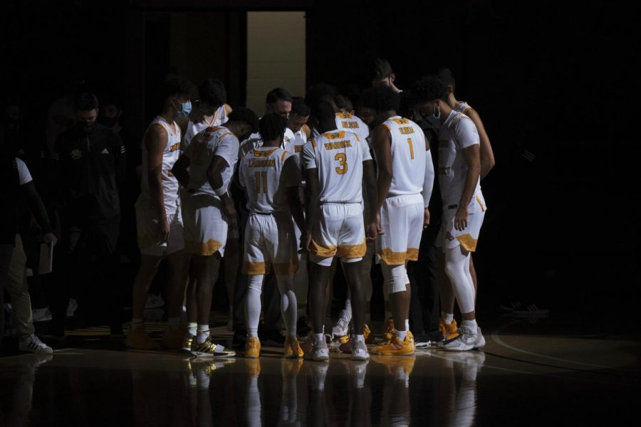 The Norse huddle before their game against Tennessee Tech. NKU would go on to win 74-65.