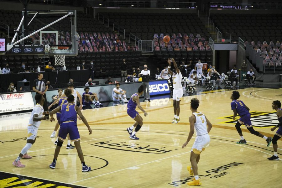 Trevon Faulkner (12) shoots a jump shot from the perimeter against Tennessee Tech. He would finish with 14 points.