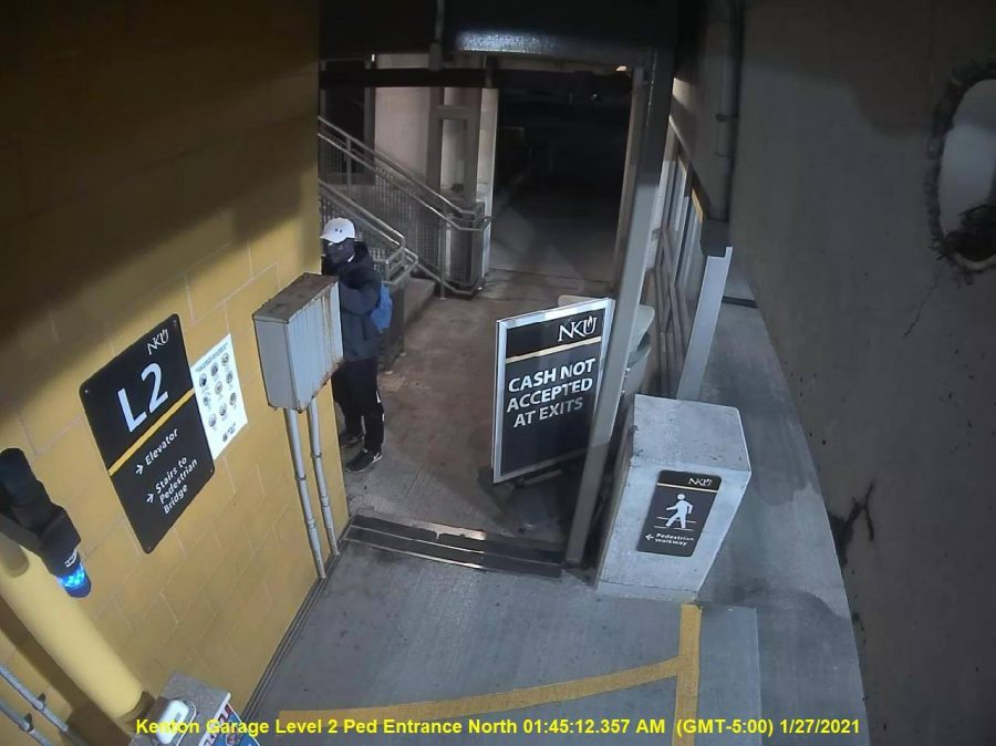 NKU Police released a photo of an individual canvassing the Kenton Drive parking garage. Campus law enforcement is currently seeking information on this person.