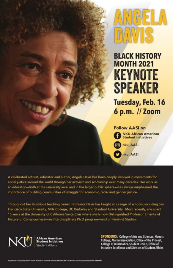 Poster with Angela Davis' photo and a description of the upcoming event.
