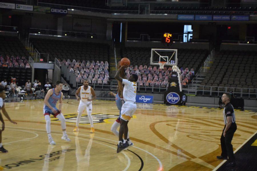 NKU guard Marques Warrick takes an open shot against the UIC Flames on Saturday.
