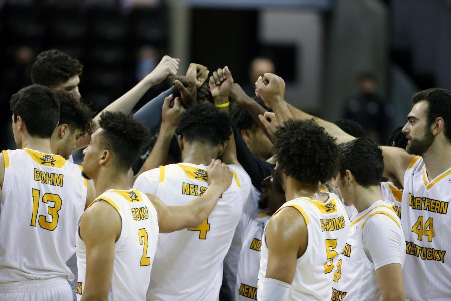NKU breaks a huddle during their win against Purdue Fort Wayne at BB&T Arena.
