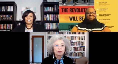 Bonita Brown (top left) and Carlous Yates (top right) introduce Dr. Angela Davis.