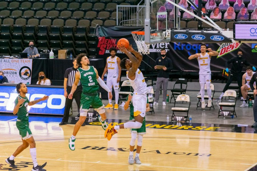 Adrian Nelson finishes at the hoop during NKU's win over Wright State on Friday.