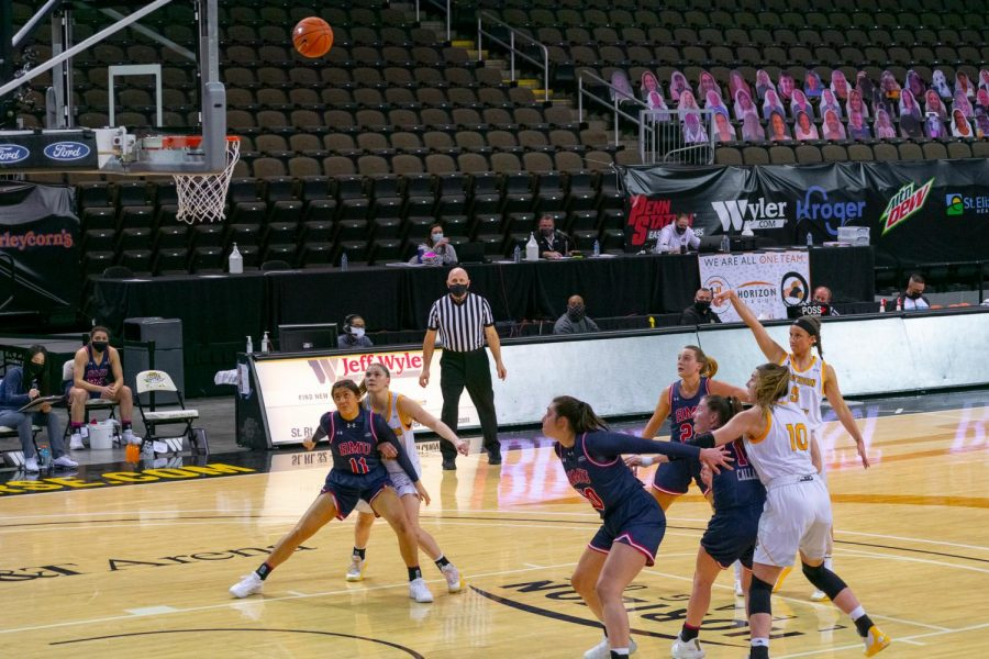 Lindsey Duvall shoots a free throw during NKU's win over Robert Morris in the first round of the Horizon League Tournament on Thursday.