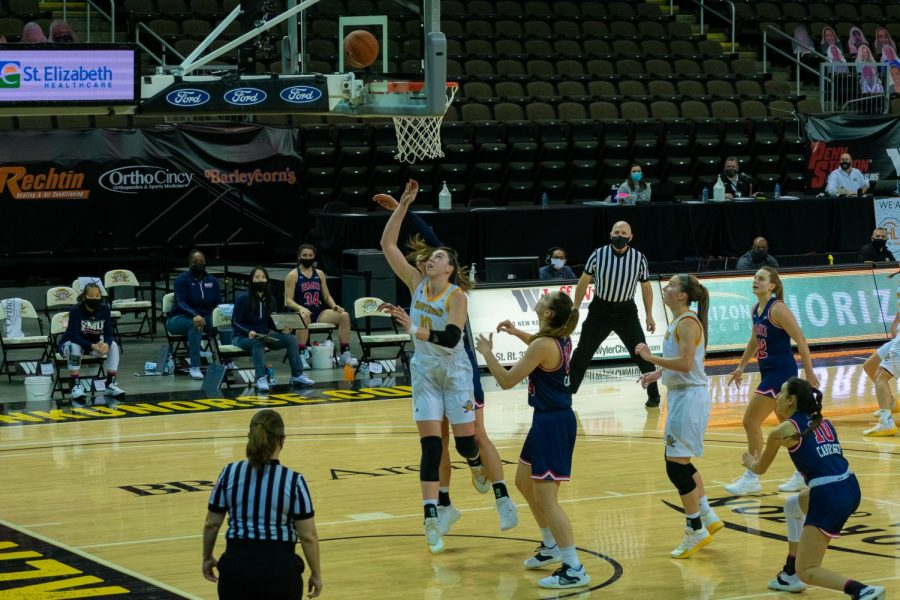 NKU forward Grayson Rose puts up a shot attempt in NKU's first round game against Robert Morris.