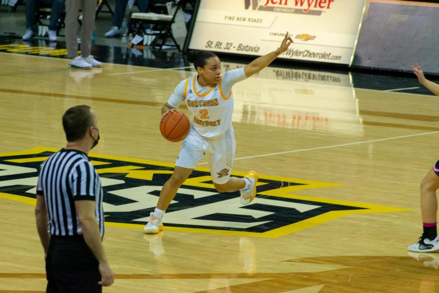 NKU guard Ivy Turner (2) calls out a play to her teammates on Thursday night. Turner finished with 10 points.