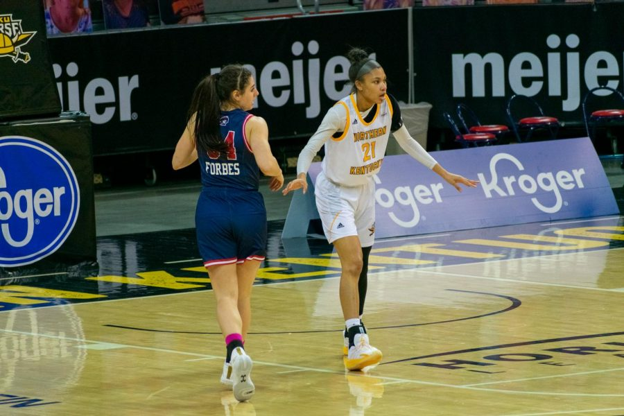 NKU forward Tayah Irvin (21) guards the paint against Robert Morris on Thursday night.