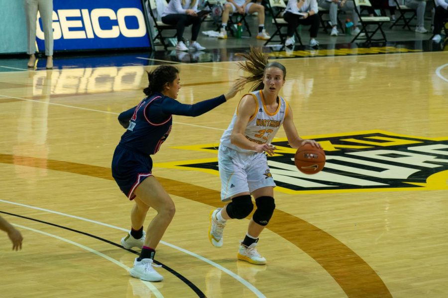 NKU forward Kailey Coffey dribbles the ball on the perimeter against Robert Morris. Coffey finished with 10 points.