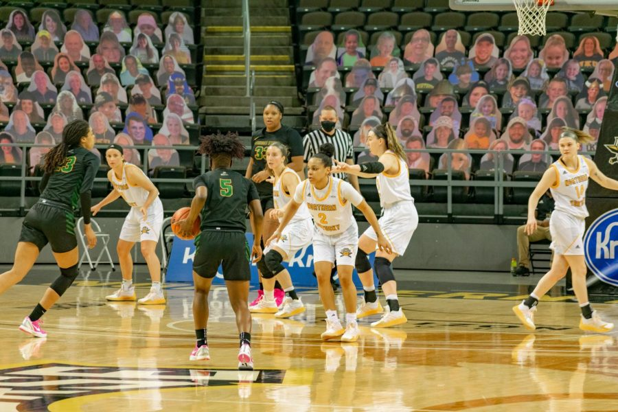 The Norse defend the perimeter against Wright State on Friday night.