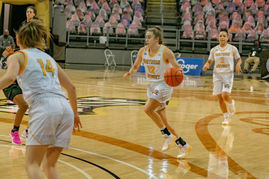 NKU guard Carissa Garcia dribbles the ball on the perimeter against Wright State.