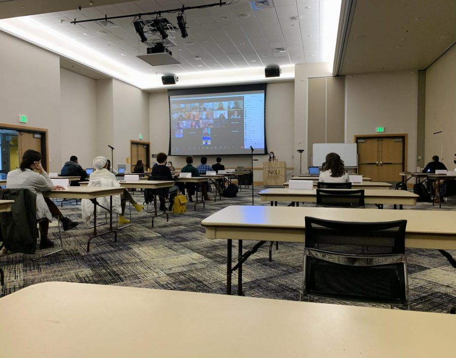 SGA members and visitors have the option to attend meetings virtually or in-person.