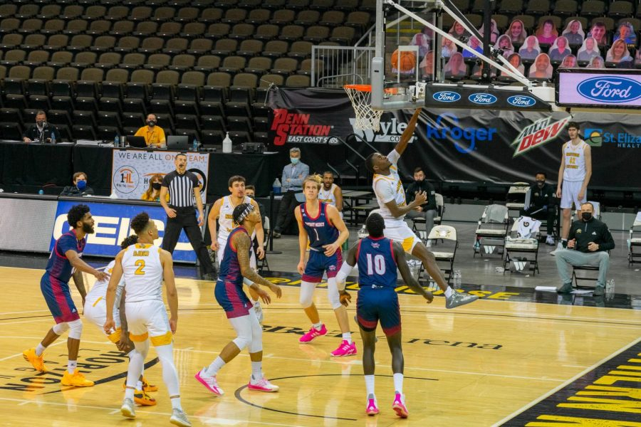 Marques Warrick finishes a layup against Detroit Mercy on Tuesday night.